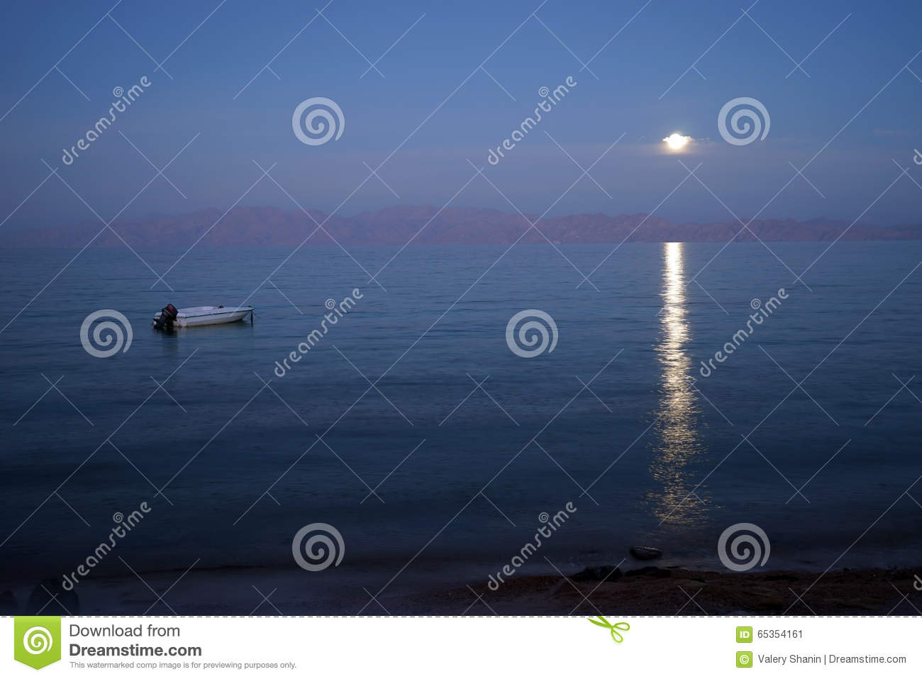 Moon And Boat Stock Photo Image 65354161