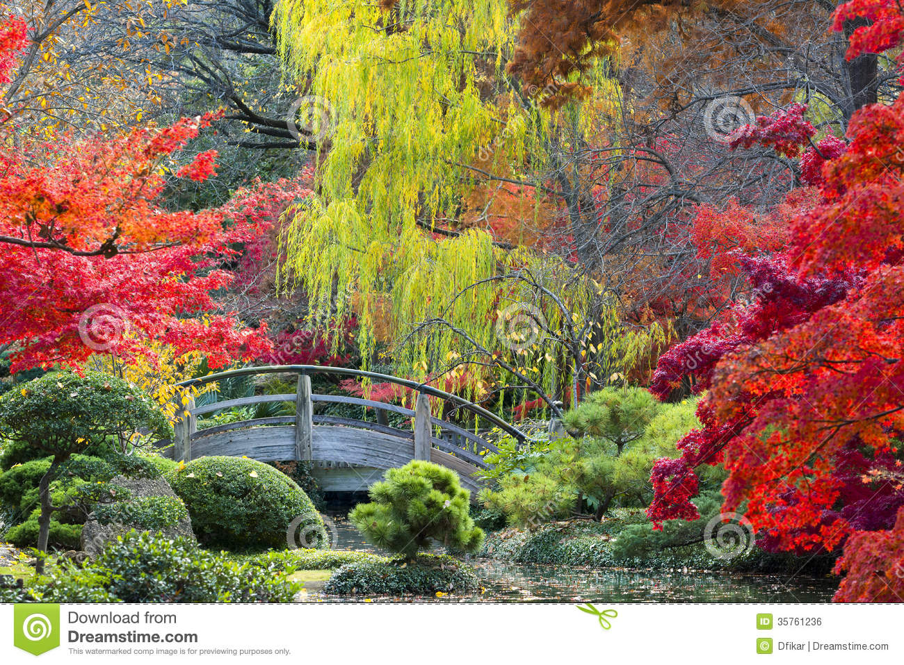 Moon bridge in the japanese gardens stock photo image for Japanese garden colors