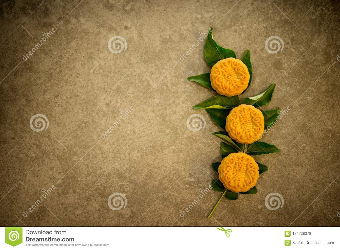 Mooncakes With Copy Space Stock Photo Image Of Above 124238378