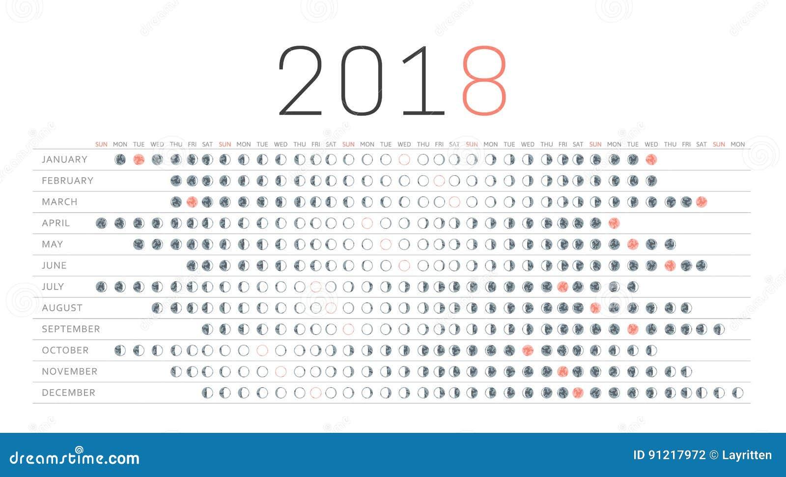 Moon calendar 2018. stock vector. Illustration of dark - 91217972