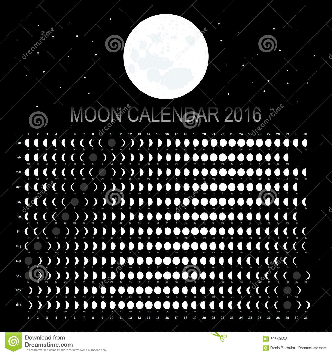Lunar Calendar The Art Of Timing : Moon calendar stock vector image of phase design