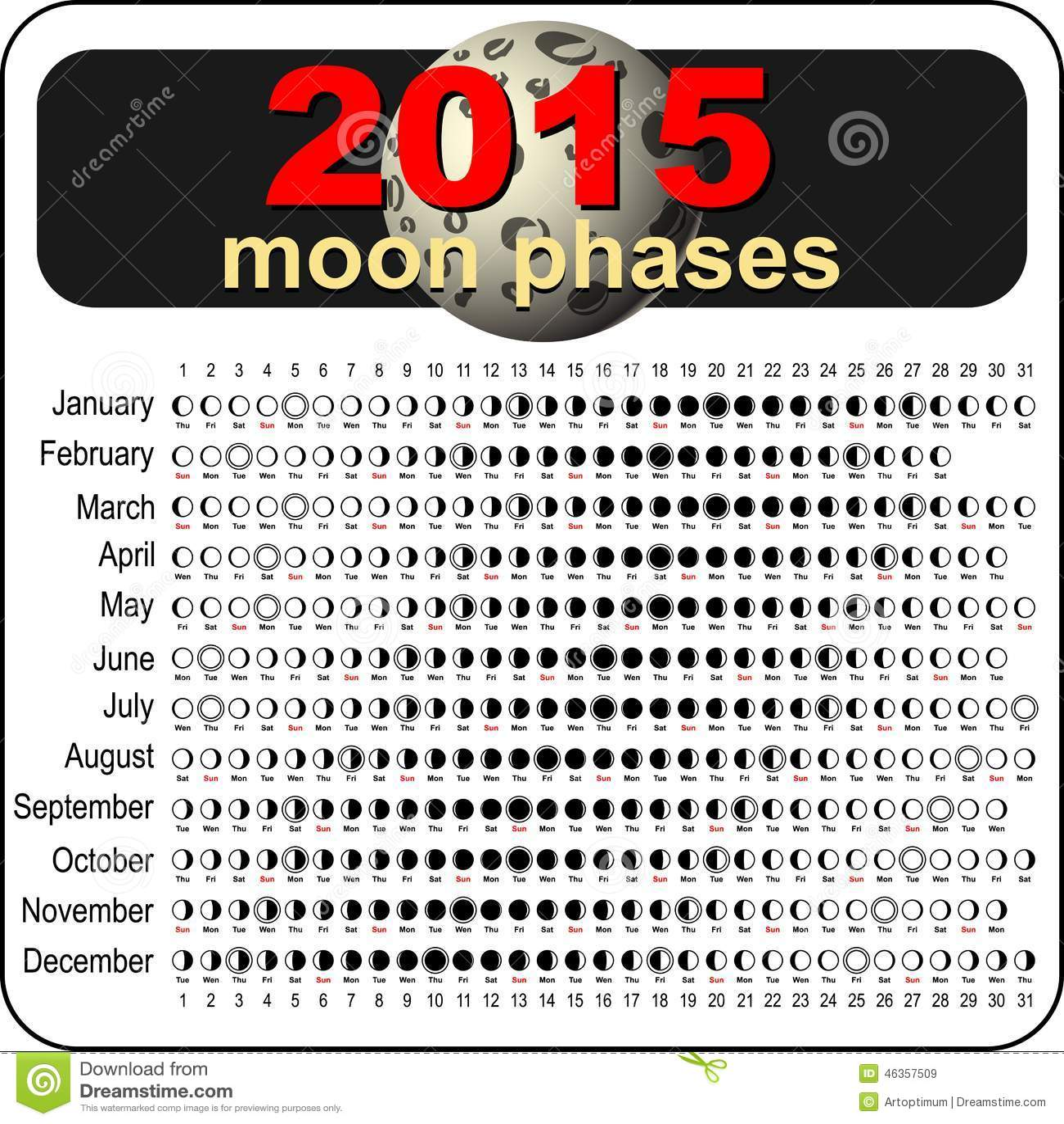 Moon calendar 2015 stock vector. Illustration of phase - 46357509