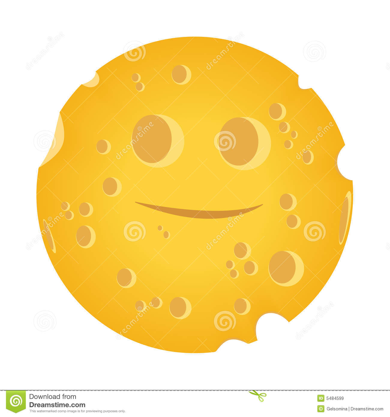 yellow moon-cheese on a white background. Vector illustration is ...