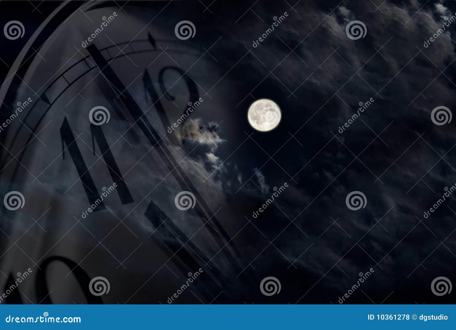 Moon and clock