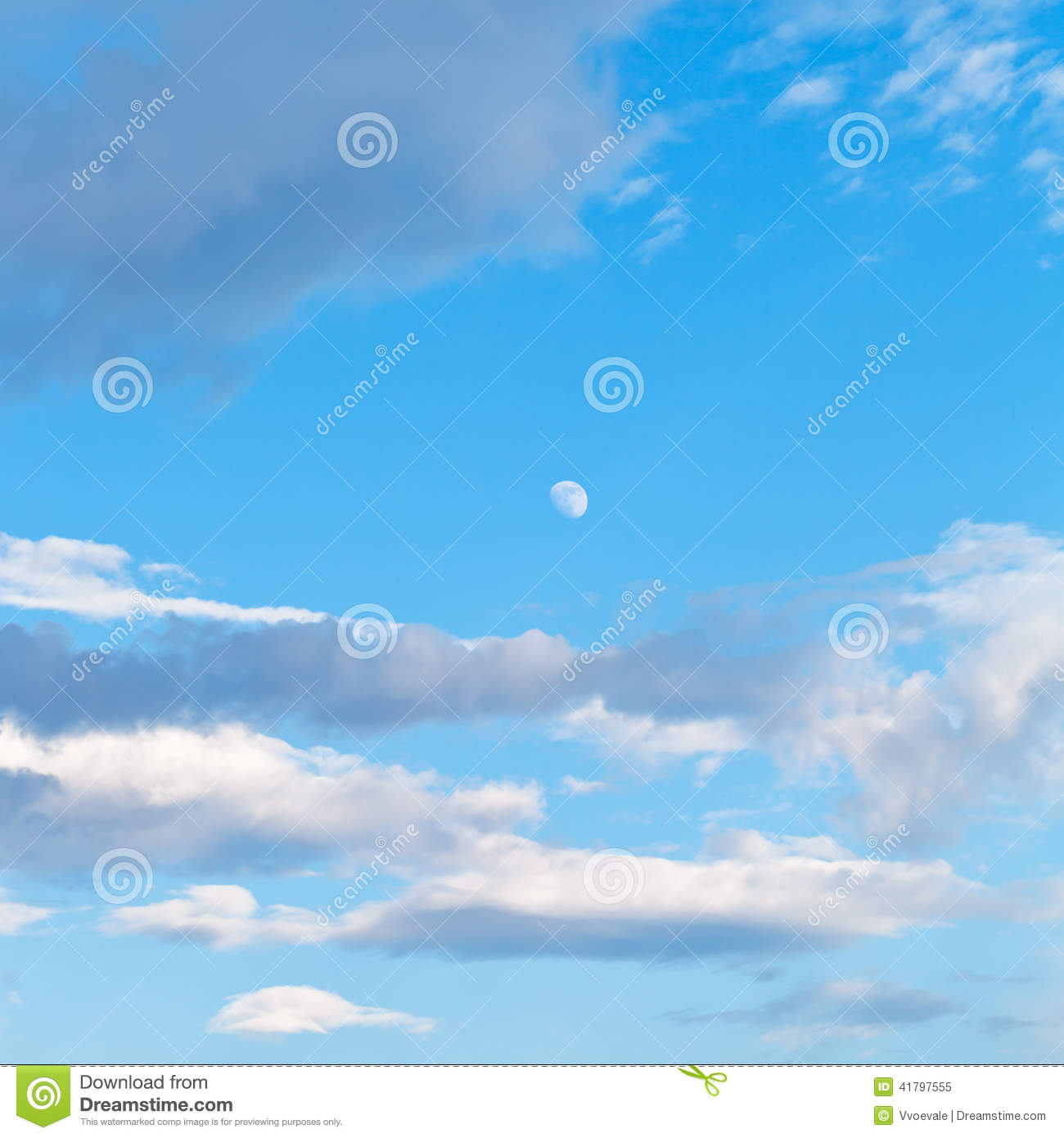 the moon in the evening sky stock image cartoondealer