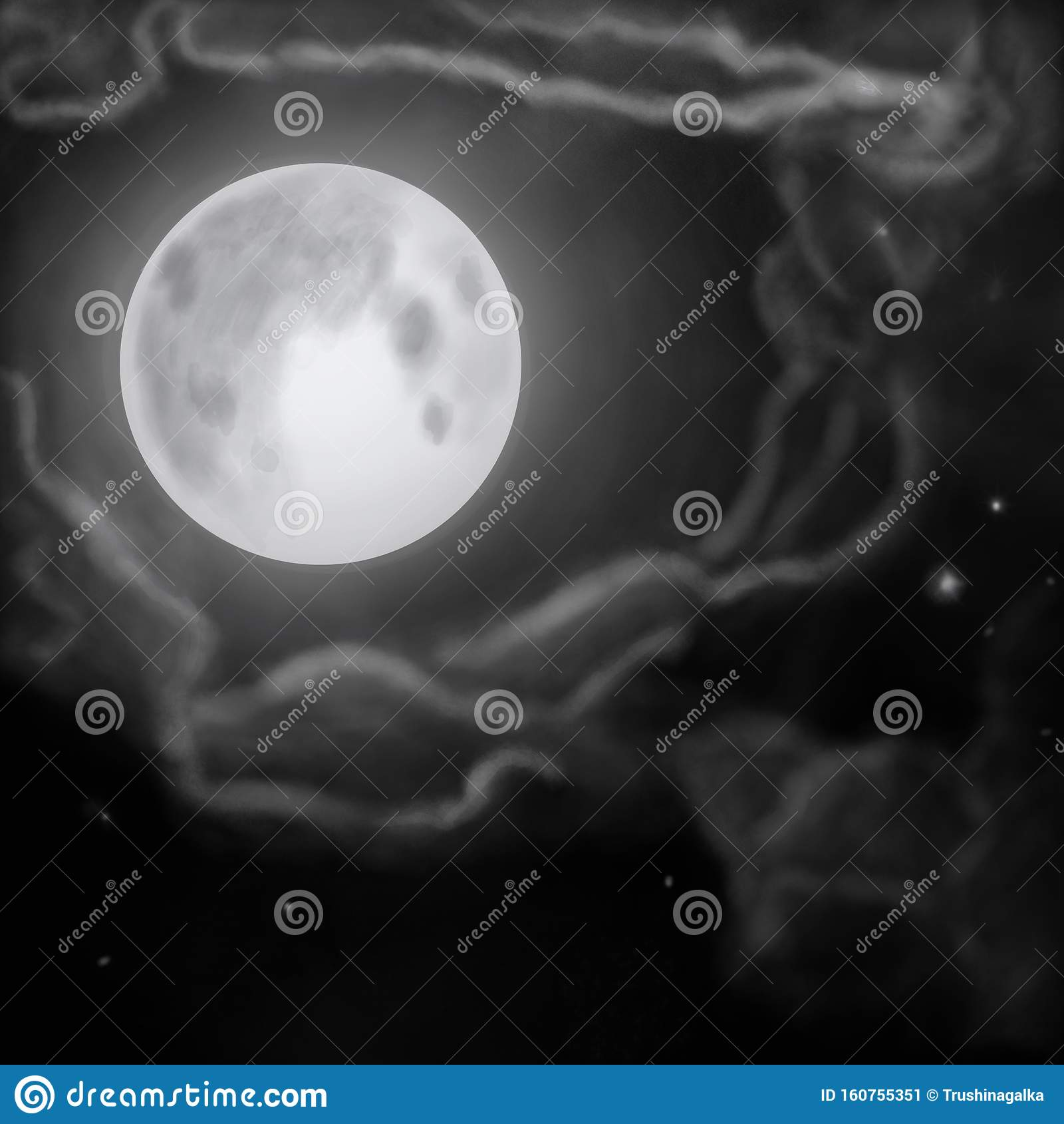 The Moon Clouds And Stars On The Black Sky Background With Copy