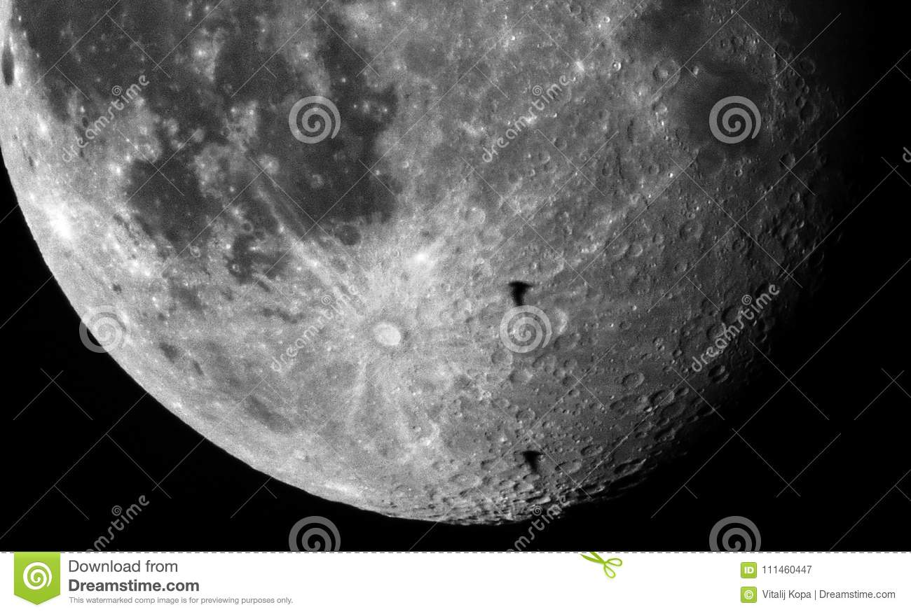 Moon crater details and birds observing