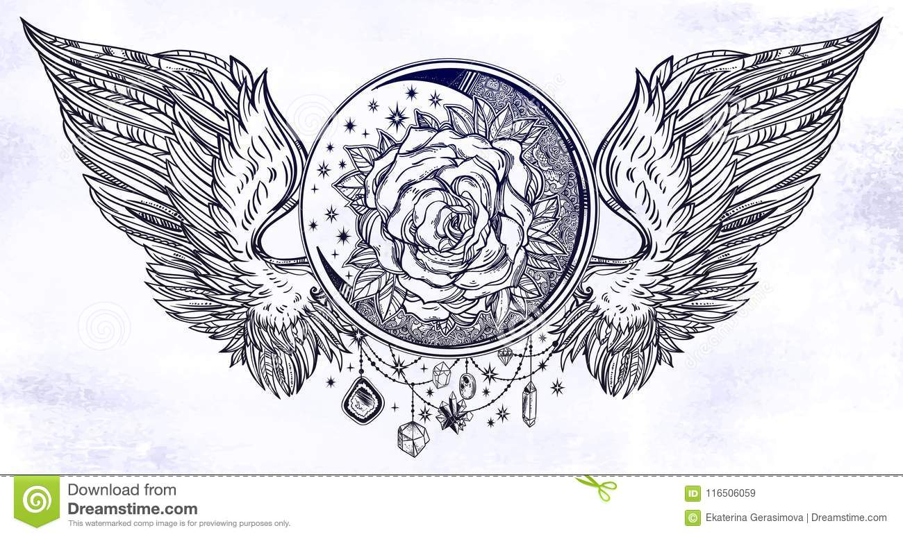 Moon Crescent With Rose Flower With Angel Or Bird Wings Stock