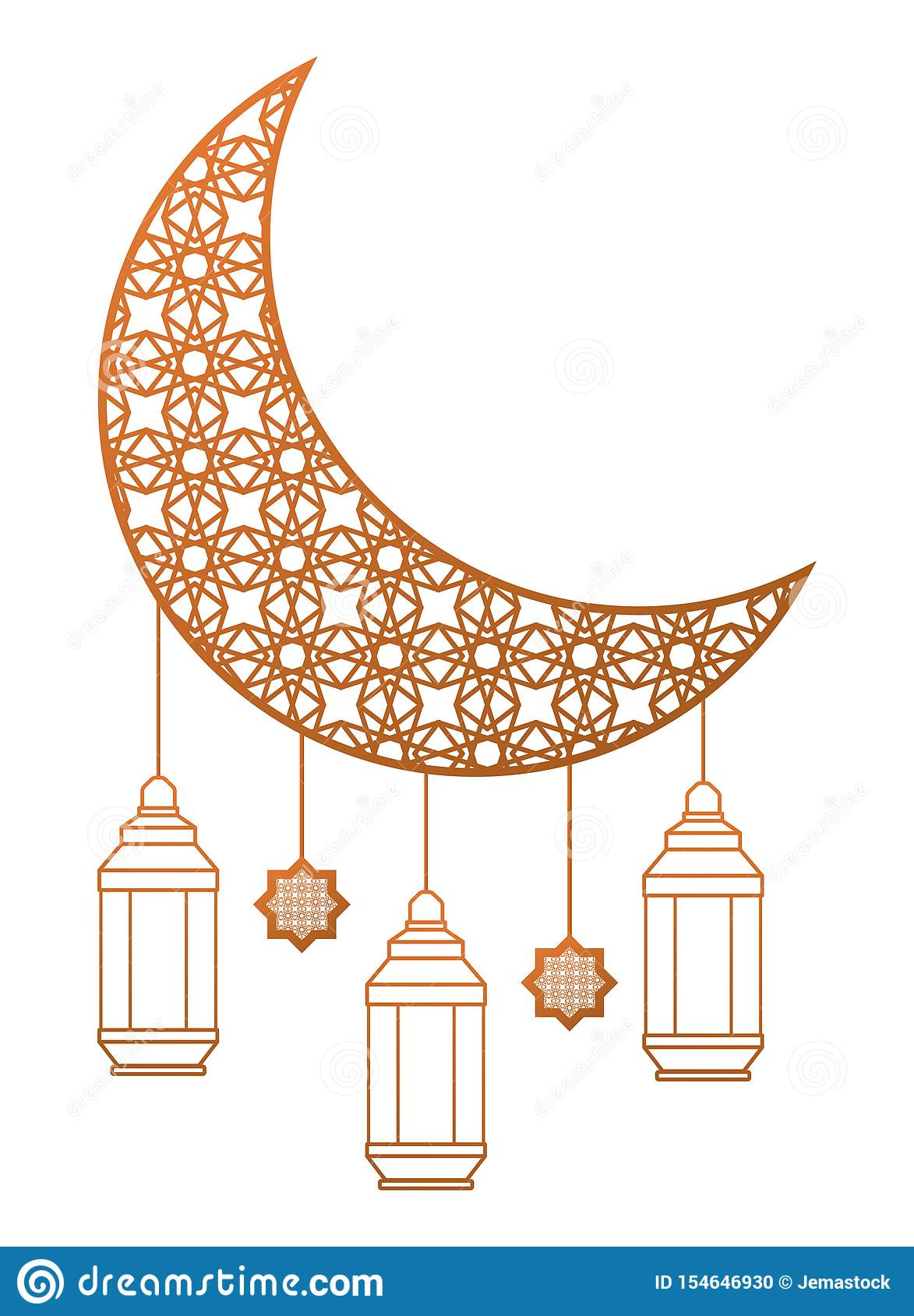 Moon Drawing With Antique Lanterns Hanging Stock Vector Illustration Of Decoration Object 154646930