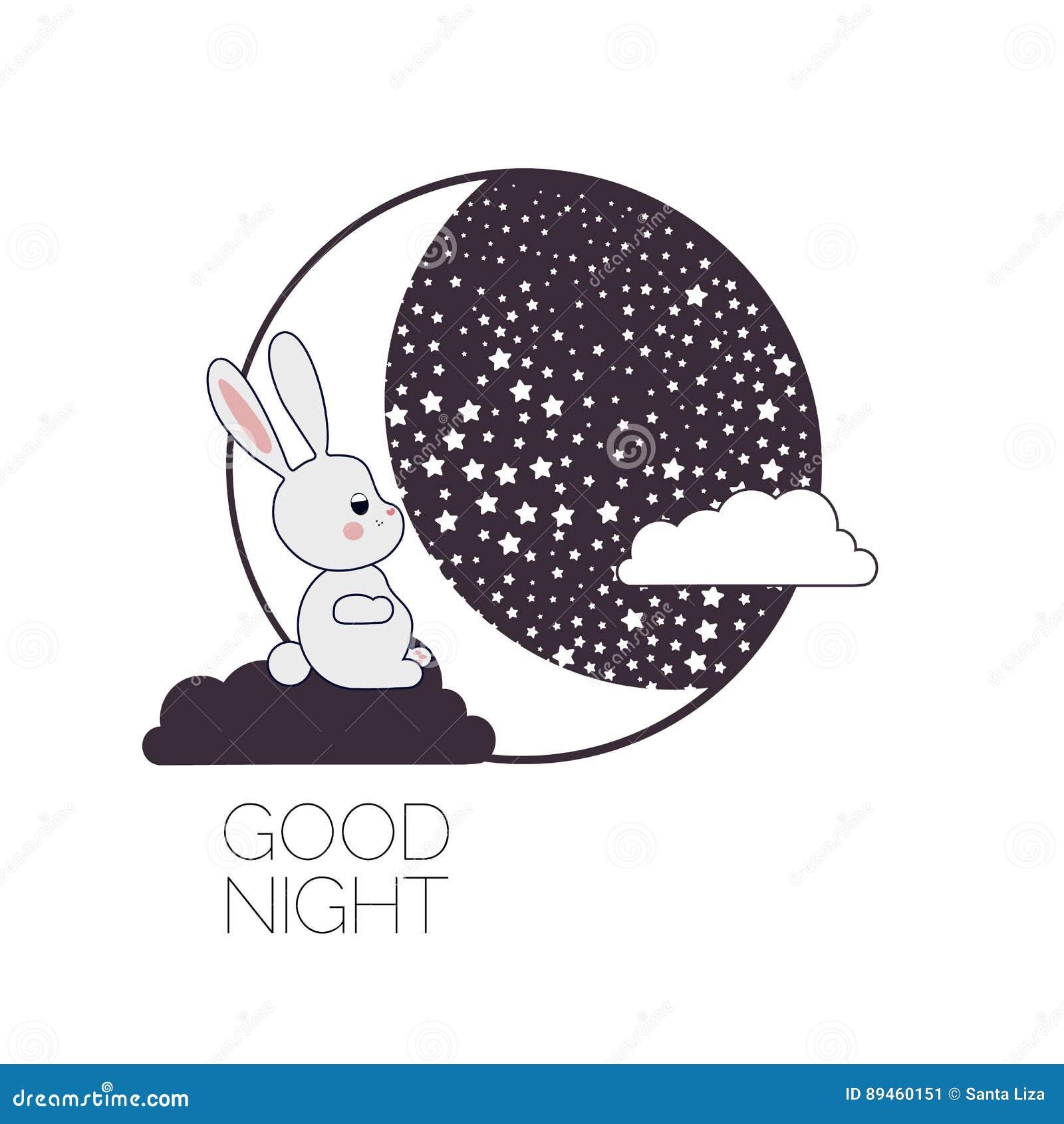 Moon and dreaming rabbit.