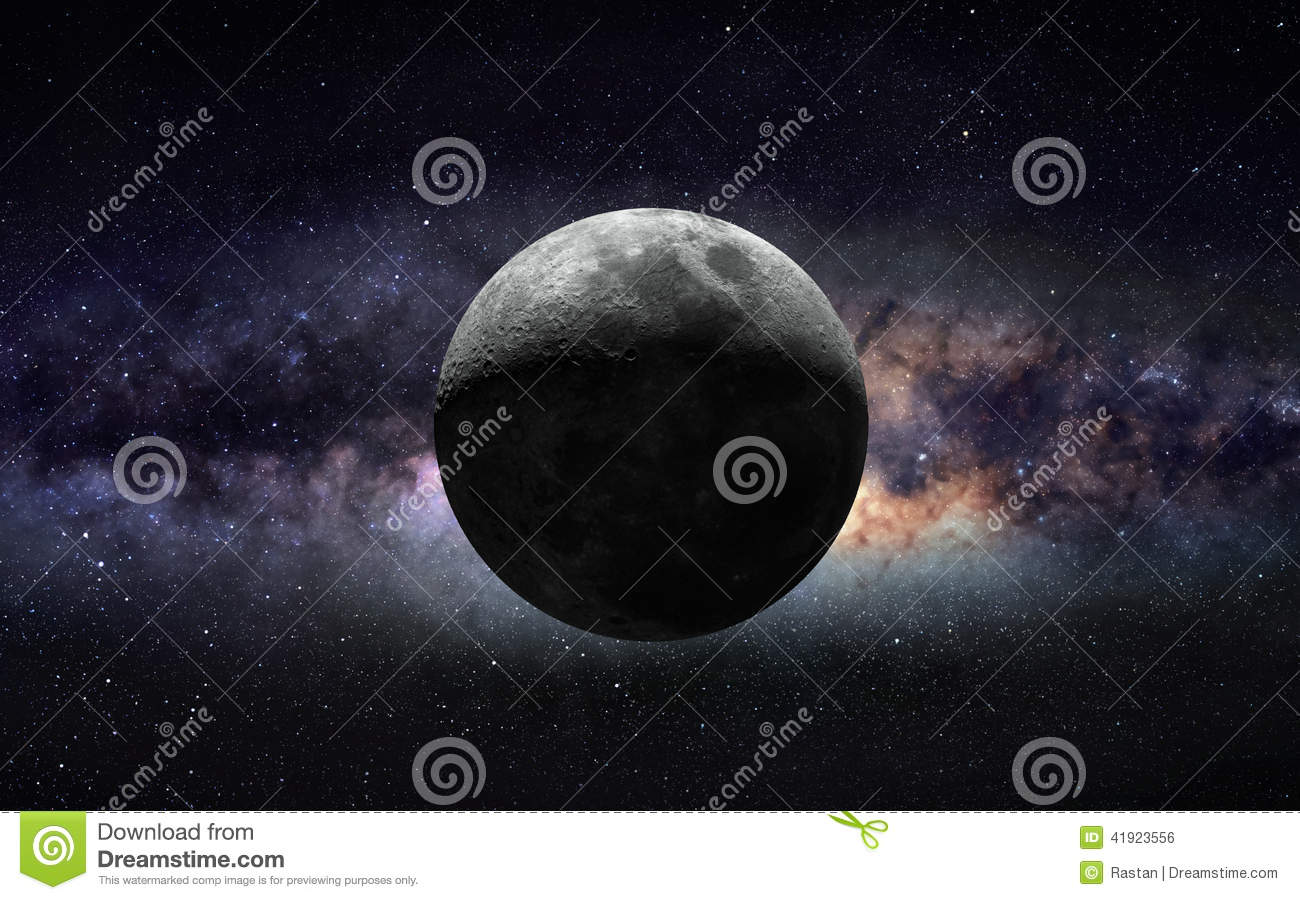Moon and galaxy