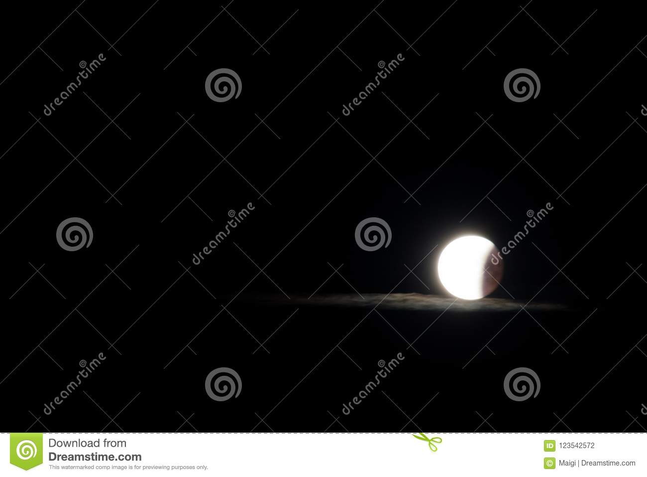 Download Moon and glowing cloud stock photo. Image of phase, reflection - 123542572