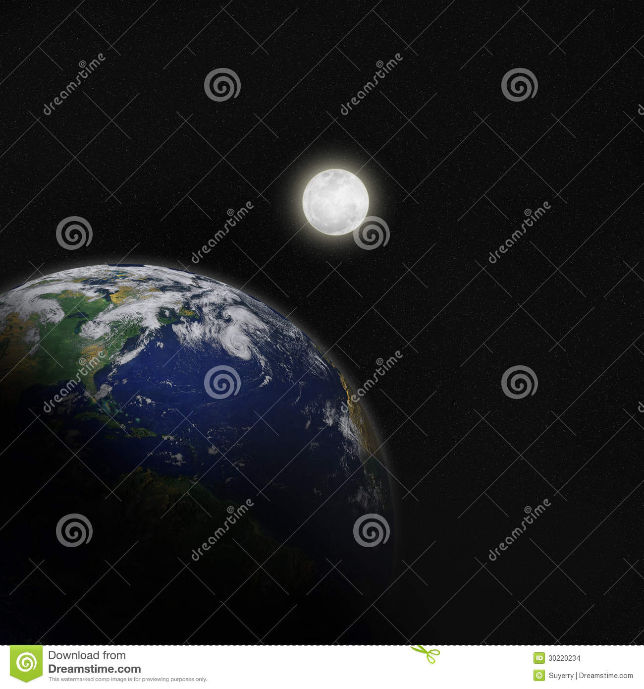 The Moon And Planet Earth In Space Stock Images - Image ...