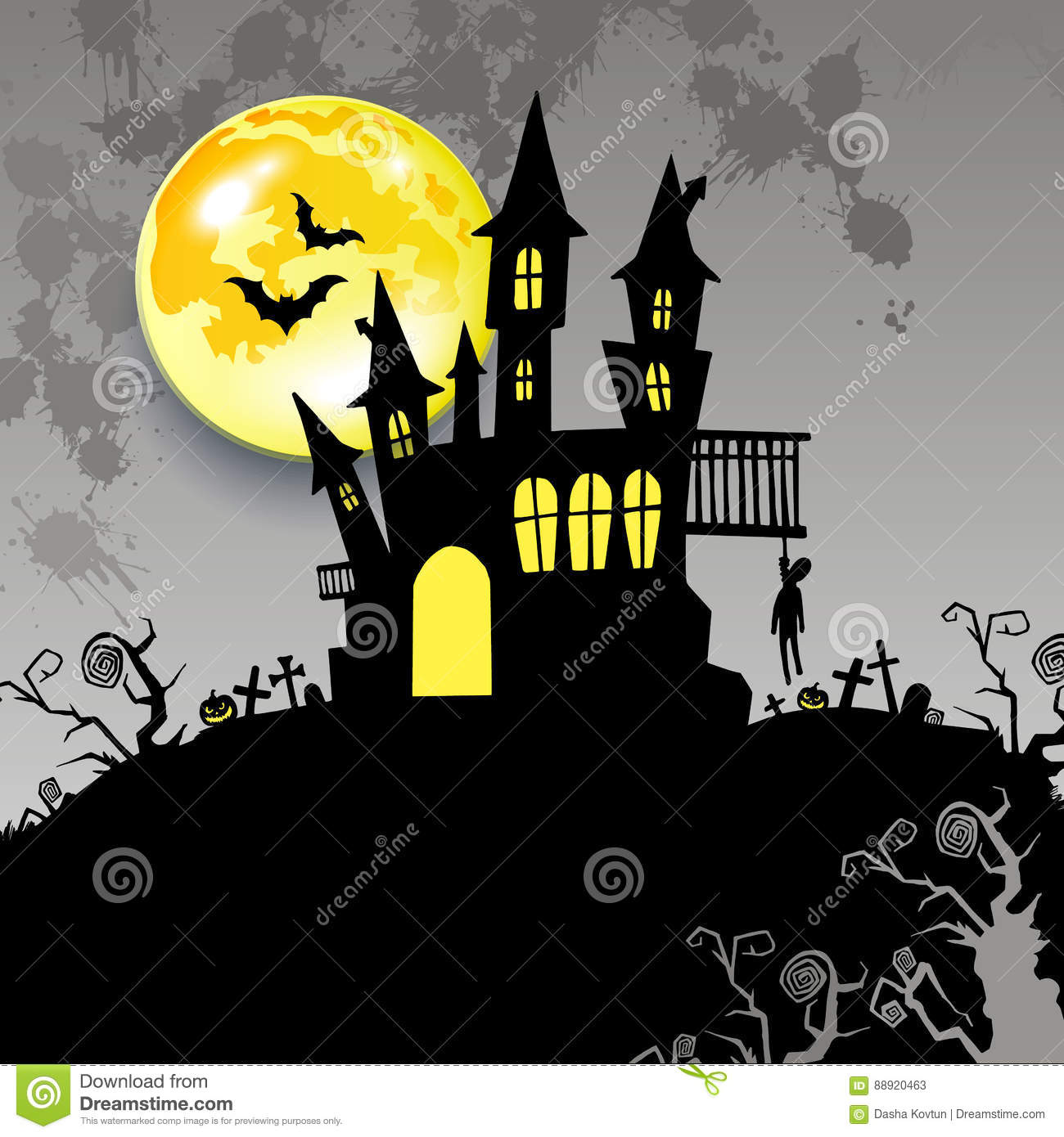 Castello Halloween.Moon Halloween Castle Illustration Horror Night Silhouette Stock