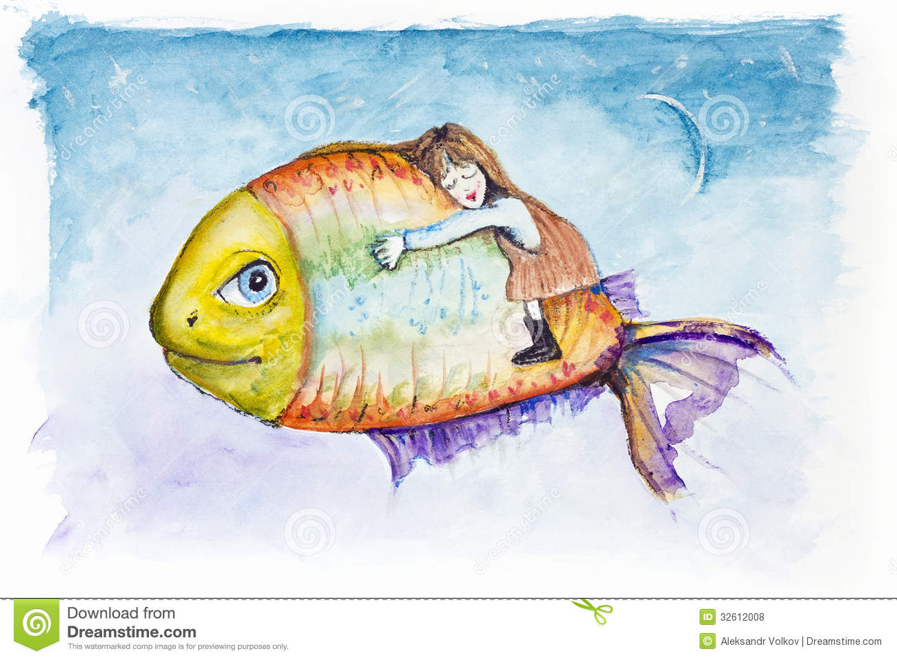 Moon light fish dreams royalty free stock photos image for Dreaming of fish