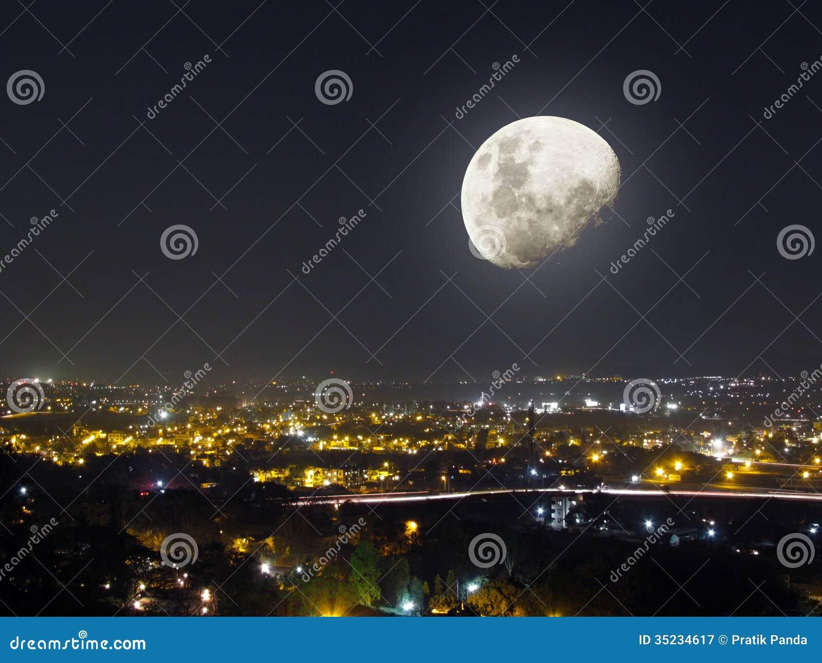Moon light night city view