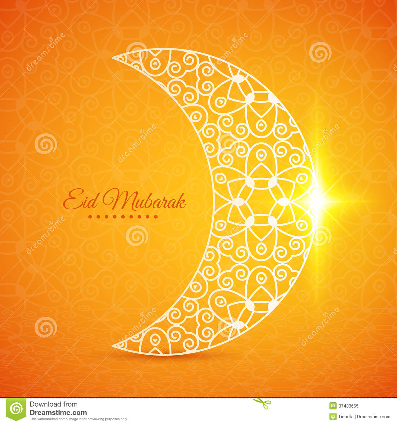 Moon For Muslim Community Festival Eid Mubarak Stock Vector