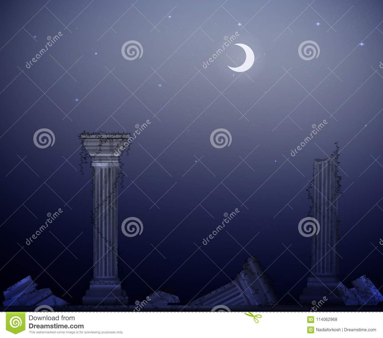 Moon night and ruins of marble columns with liana, the decline of civilization,antique landscape, theater decoration,