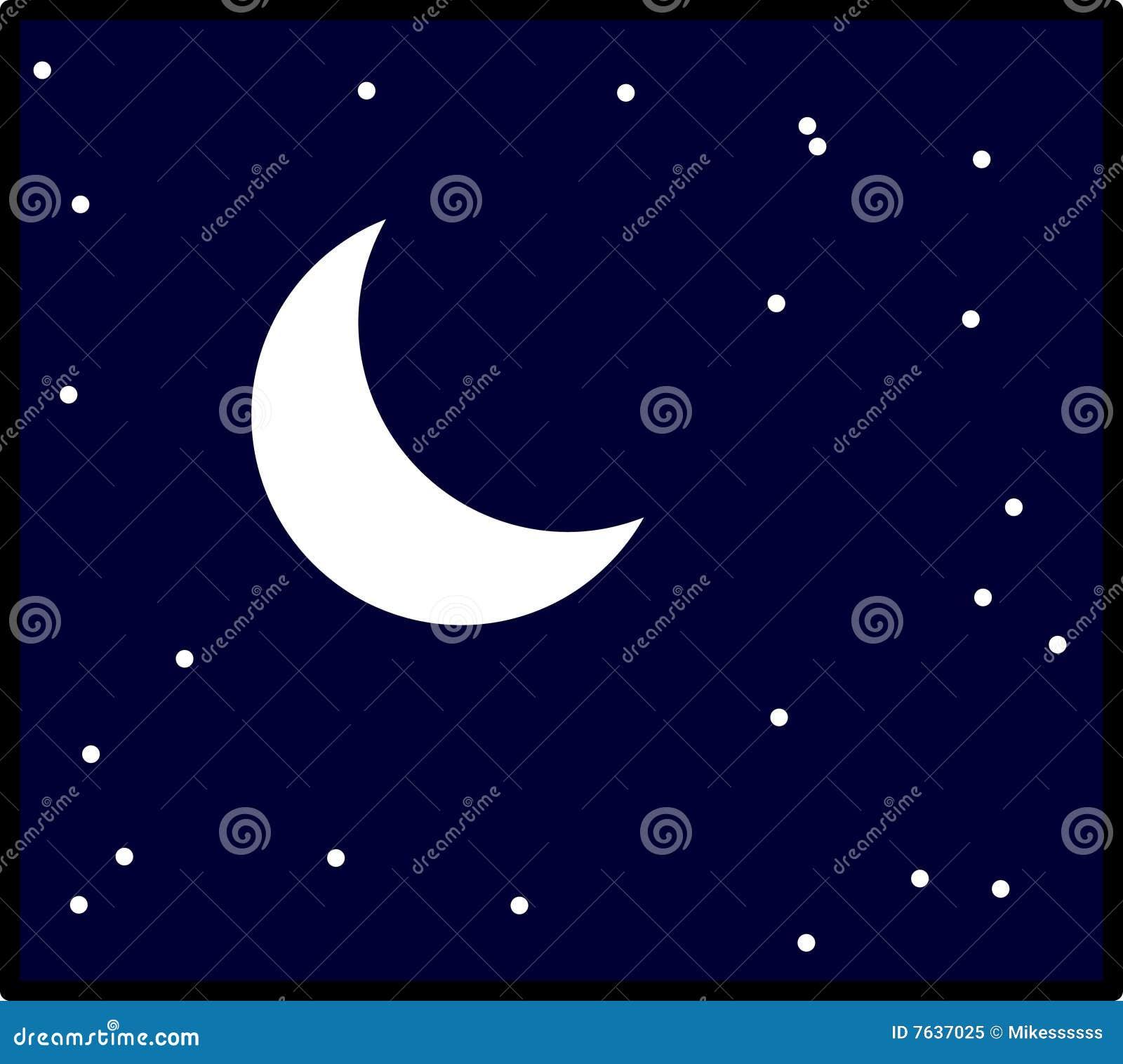 Moon In Night Sky With Stars Vector Illustration Stock ...