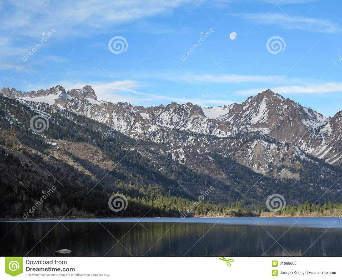 Moon over Twin Lakes stock photo  Image of
