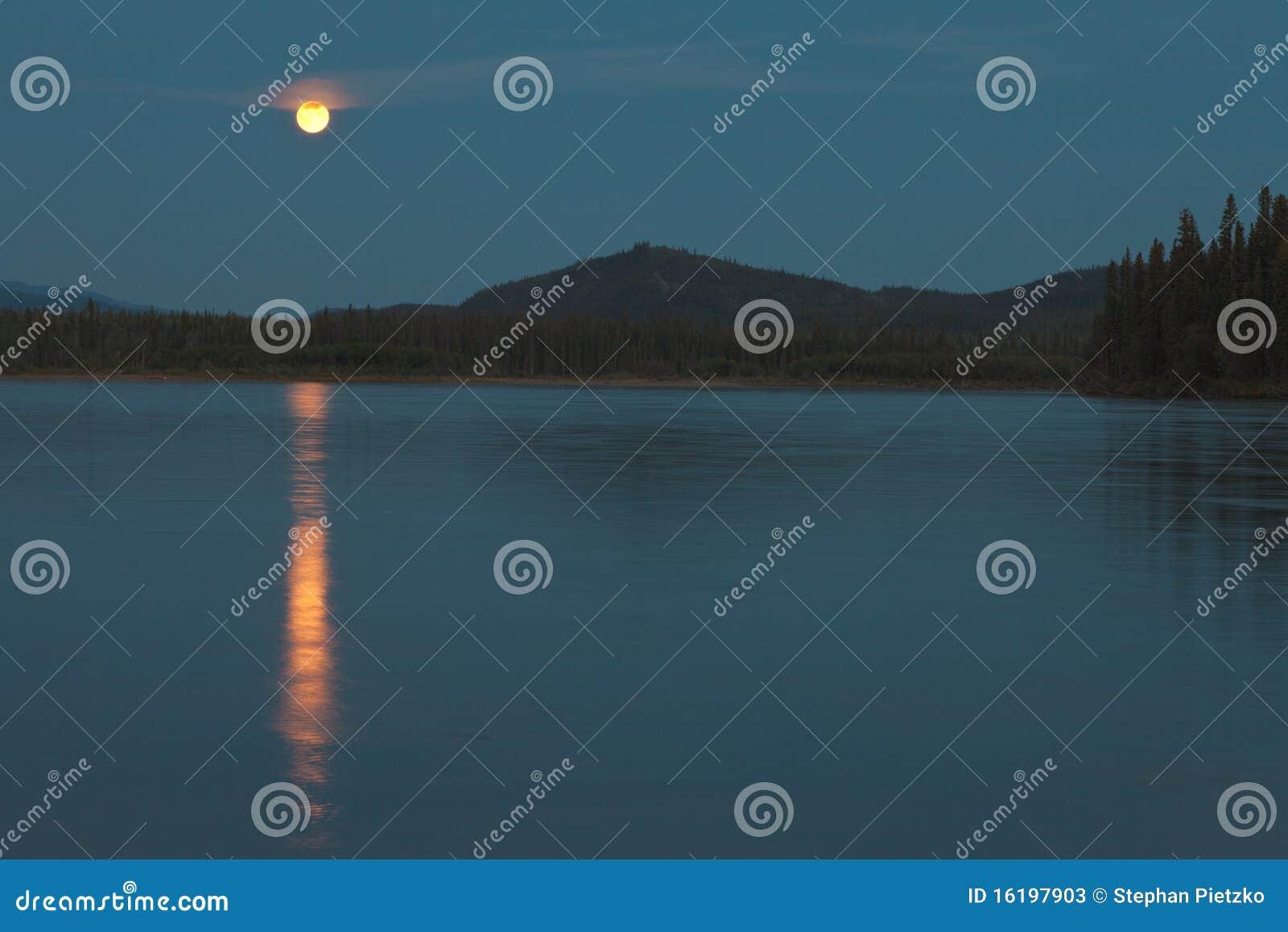Moon over Yukon River