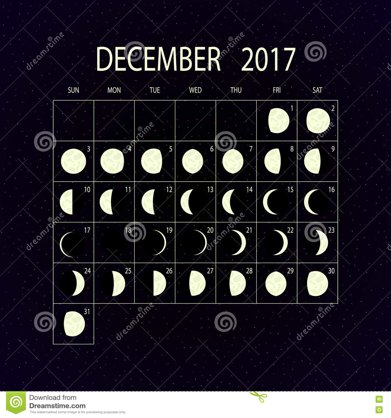 Lunar Calendar The Art Of Timing : Moon phases calendar for december vector