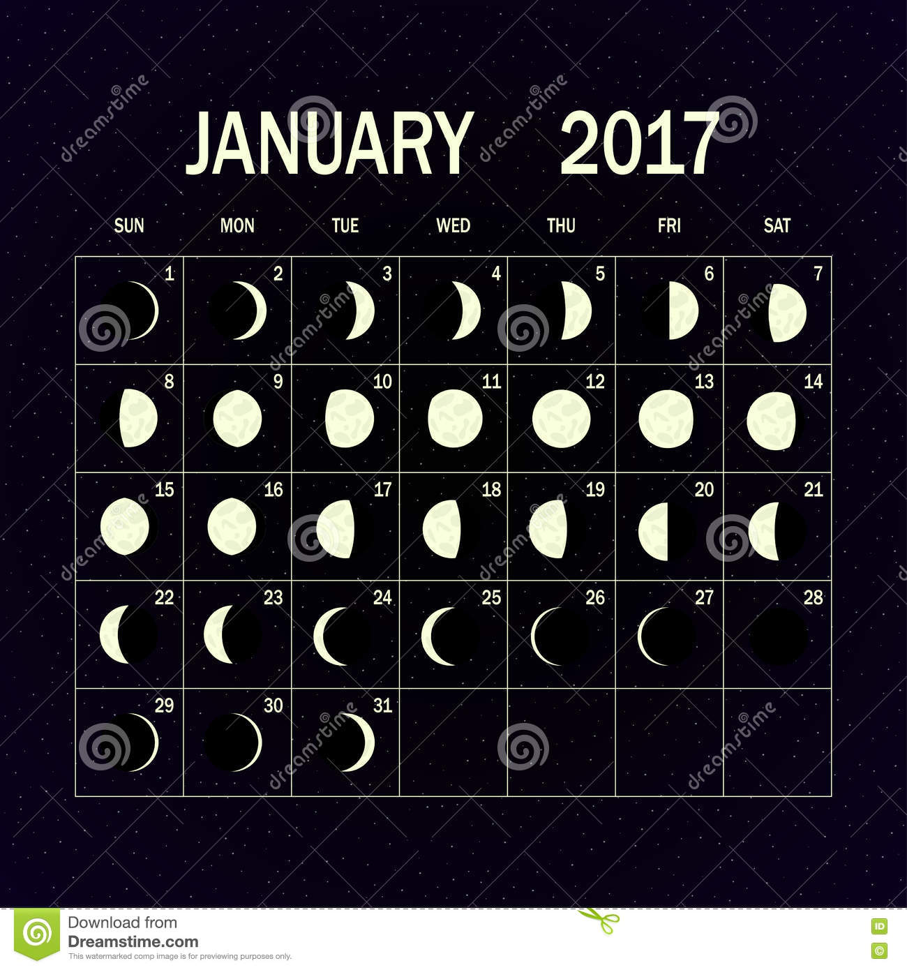 Moon Phases Calendar.Moon Phases Calendar For 2017 January Vector Illustration Stock