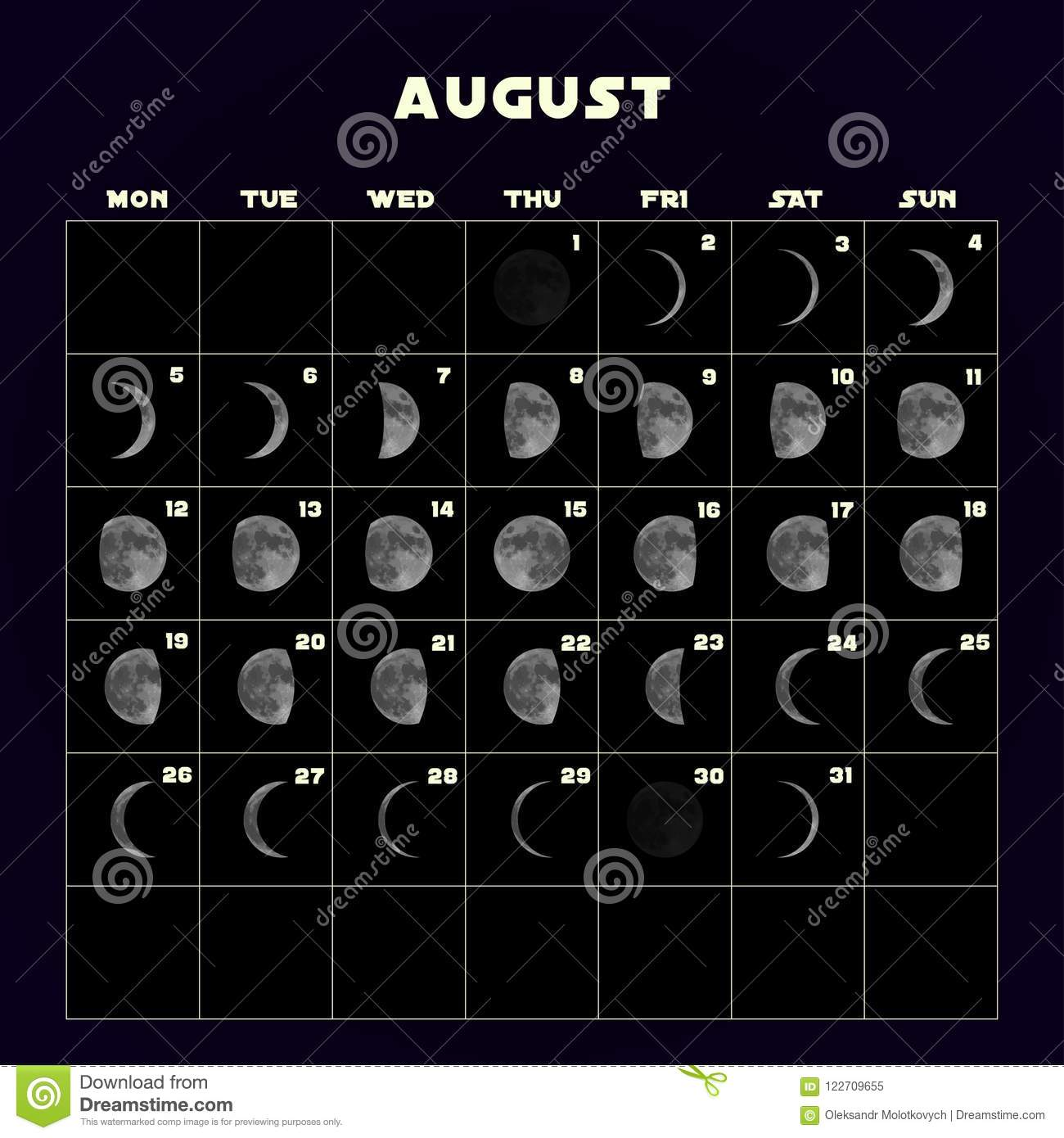 Full Moon August 2019: Moon Phases Calendar For 2019 With Realistic Moon. August