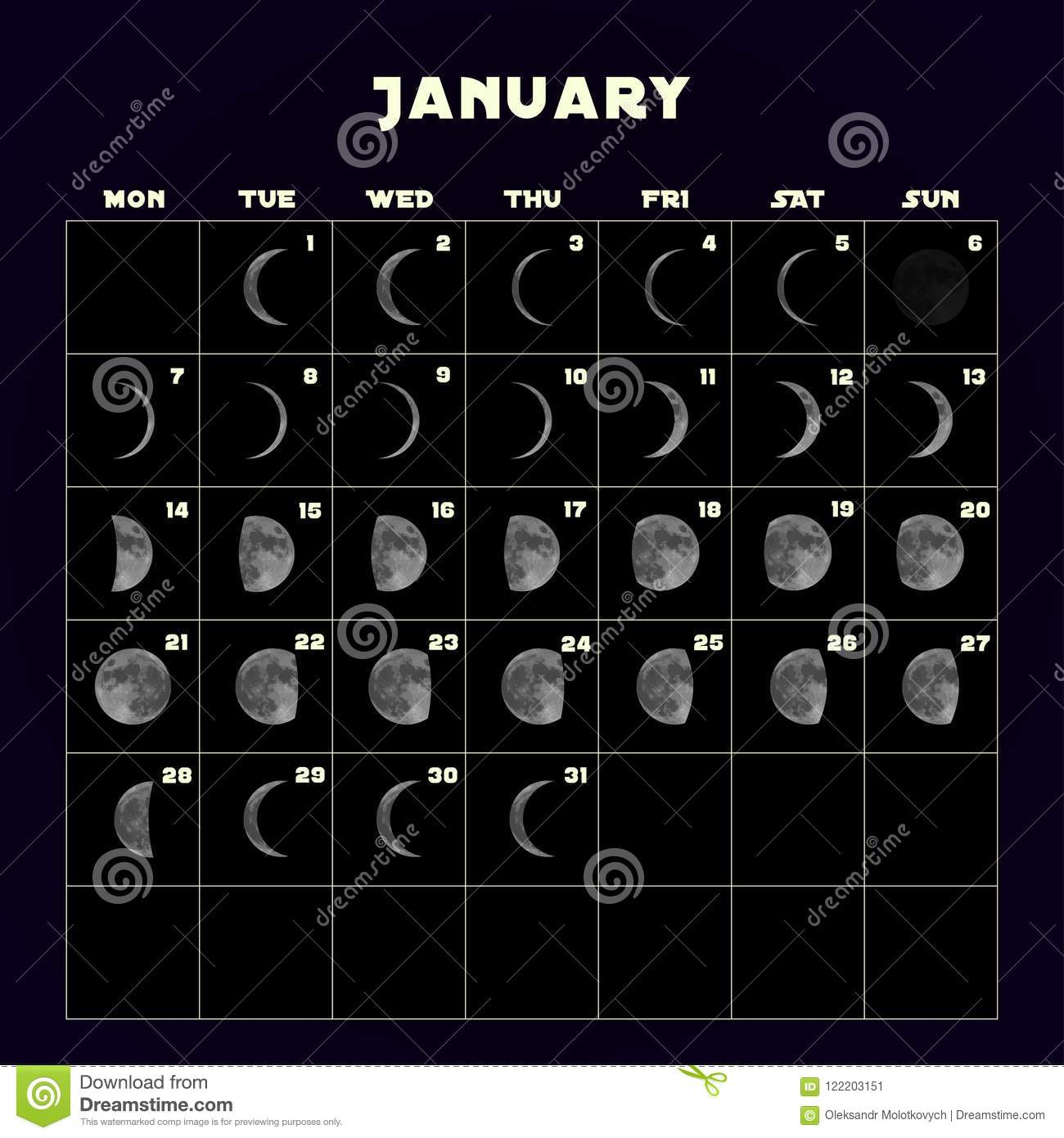 Moon Phases Calendar January 2019 Moon Phases Calendar For 2019 With Realistic Moon. January. Vector