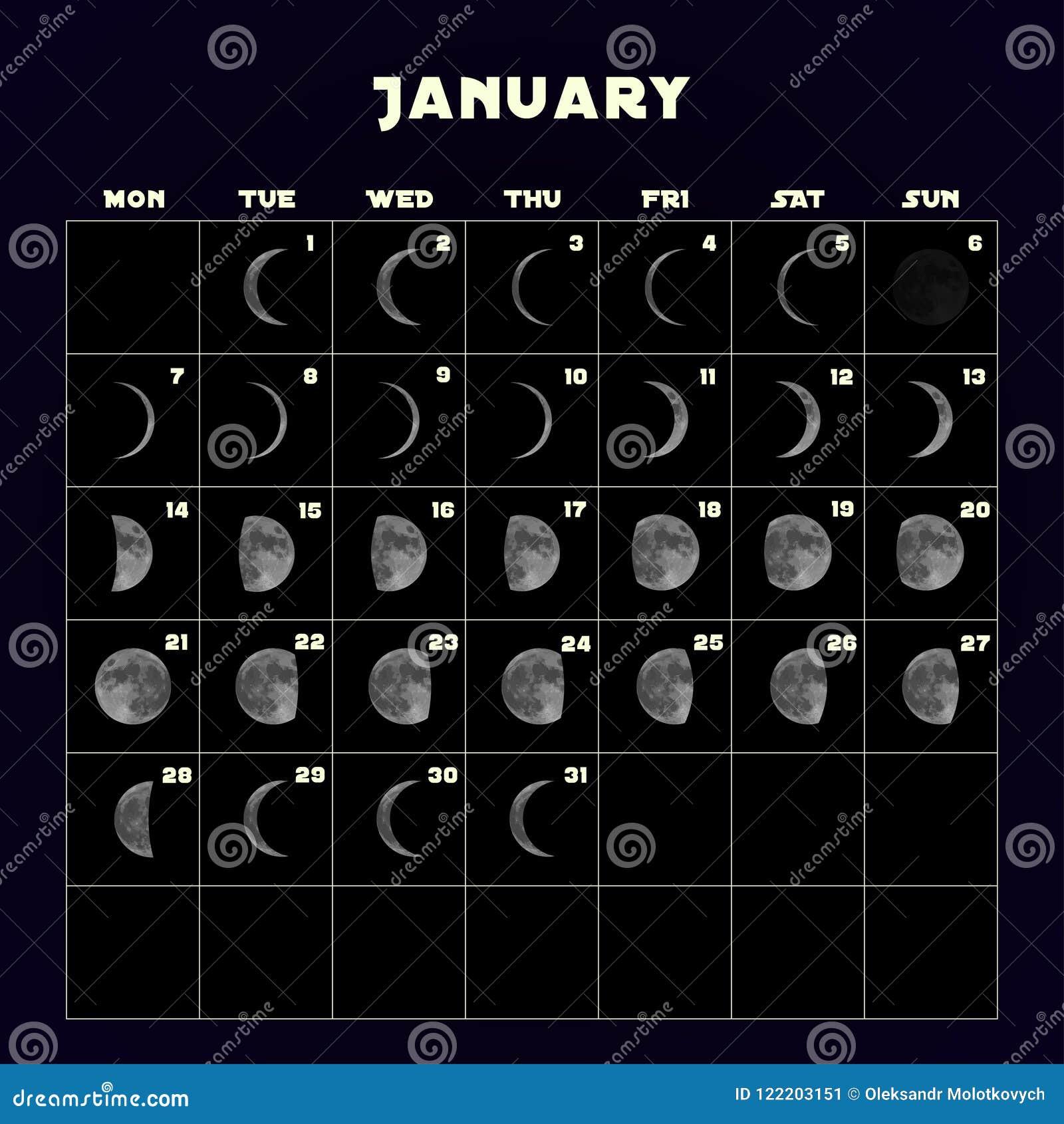 January 2019 Moon Phase Calendar Moon Phases Calendar For 2019 With Realistic Moon. January. Vector