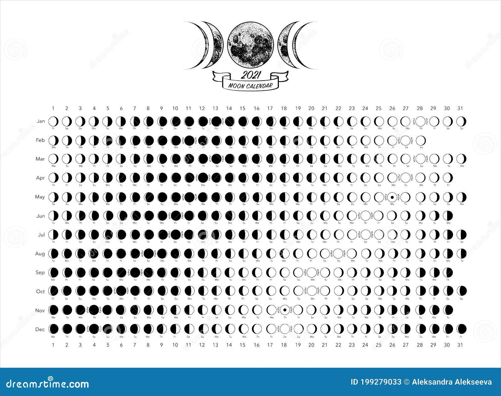 20 Moon Phases Calendar White Astronomy Vector Chart Stock ...
