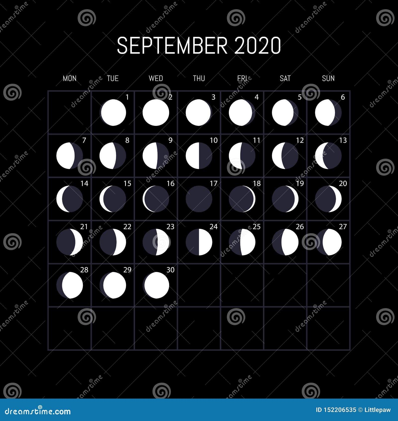 Moon Phase Calendar September 2020 Moon Phases Calendar For 2020 Year. September. Night Background
