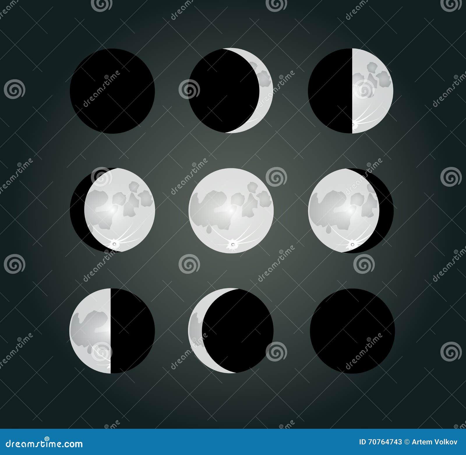 Moon Calendar Illustration : Moon phases on a dark background eps vector