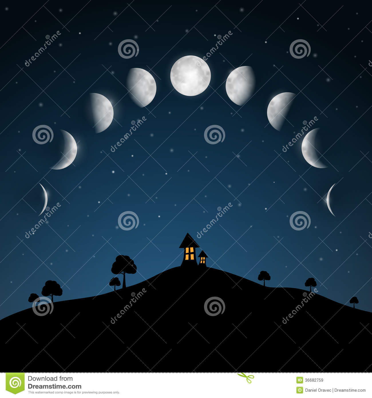 Moon Phases. Night Landscape.