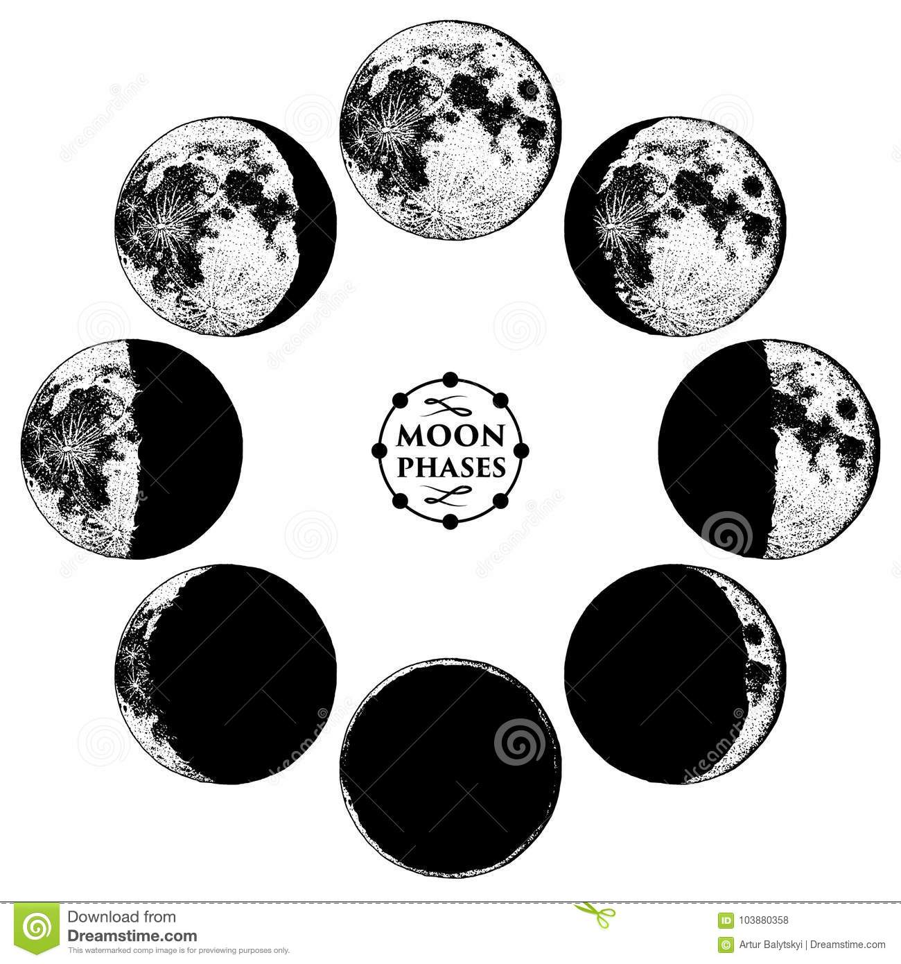 Moon Phases Planets In Solar System. Astrology Or Astronomical ... on