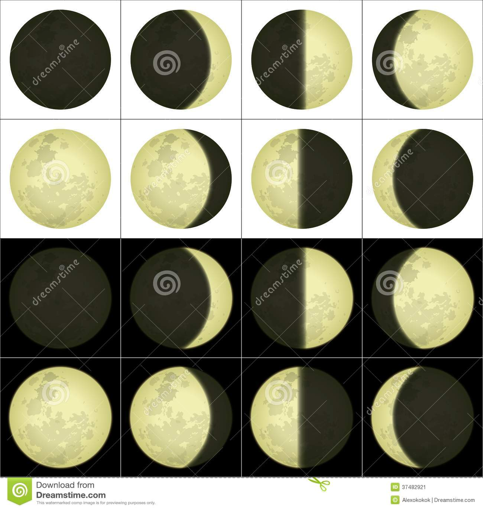 Moon Calendar Illustration : Moon phases set stock image