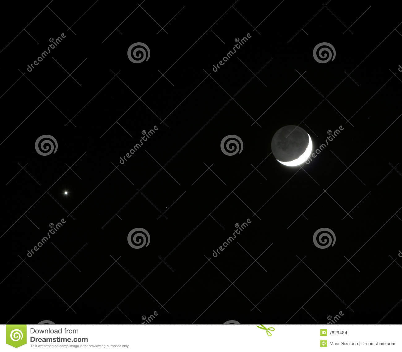 The Moon And Planet Venus Meets In The Sky Stock Photo