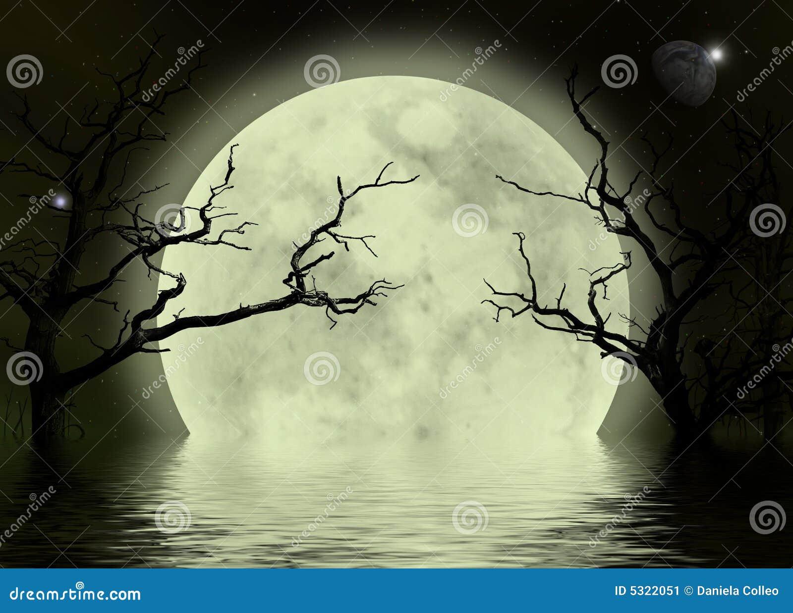 Moon scary fantasy background