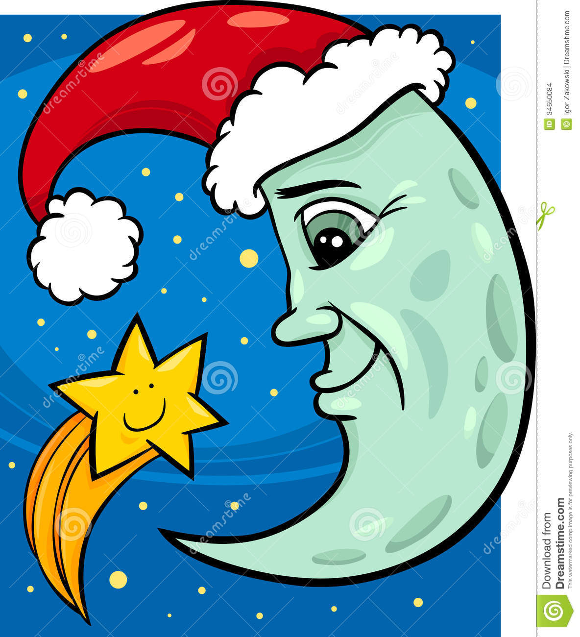 Moon and star christmas cartoon stock images image