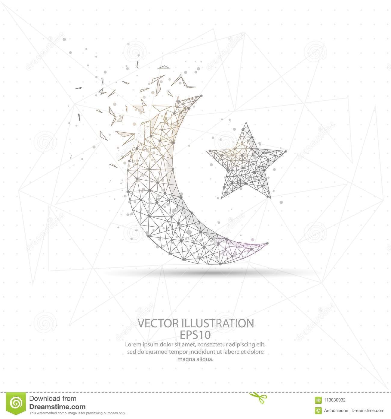 Moon And Star Digitally Drawn Low Poly Wire Frame. Stock Vector ...