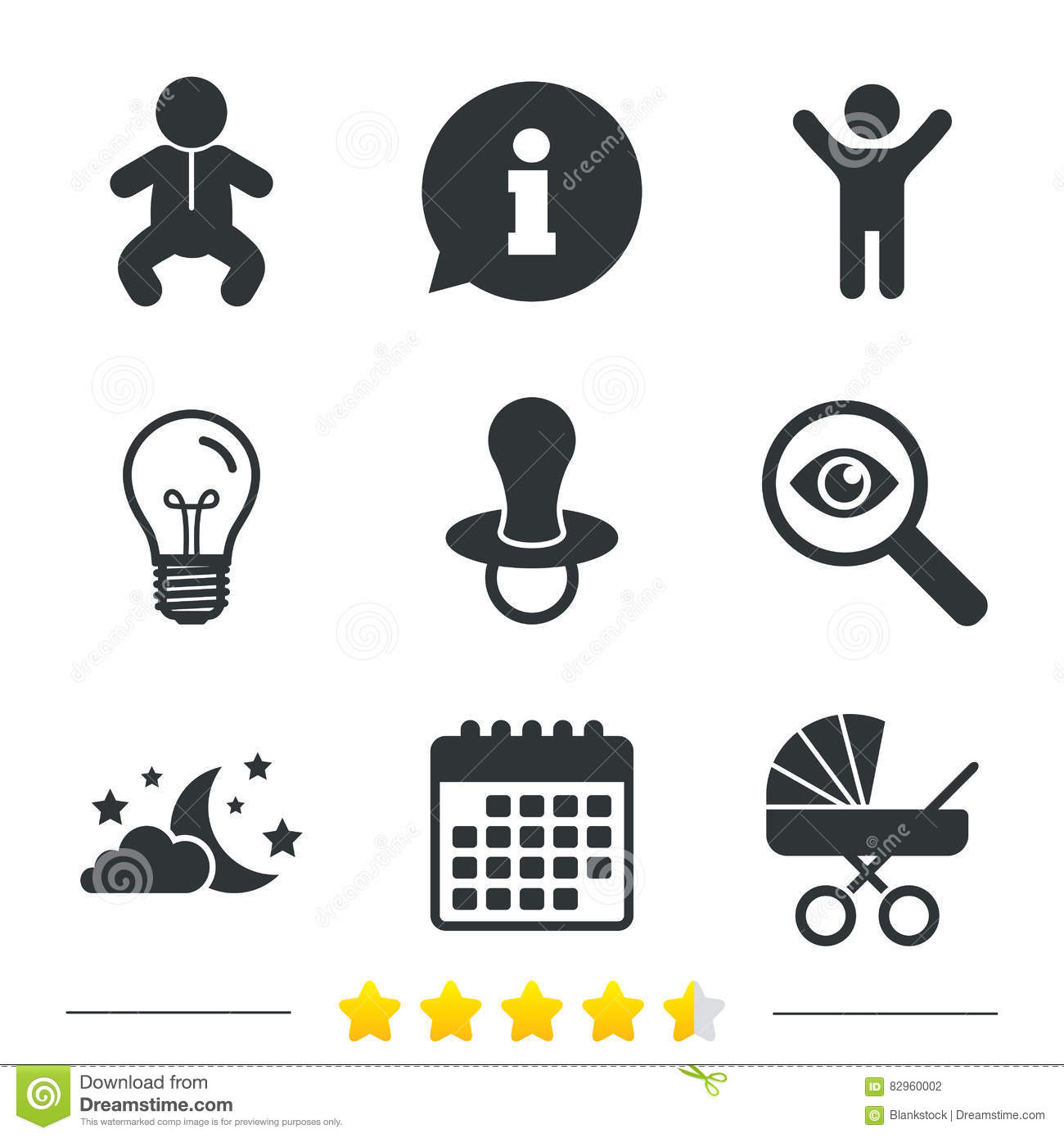 Moon And Stars Baby Infant Icon Buggy Dummy Stock Vector