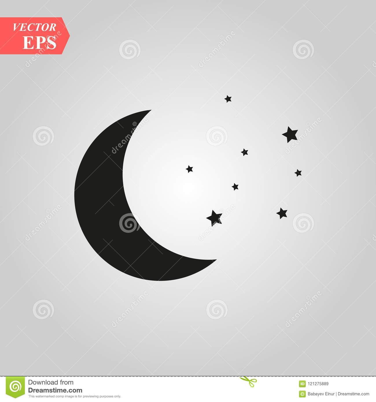Moon And Stars Icon Illustration Isolated Vector Sign Symbol Stock