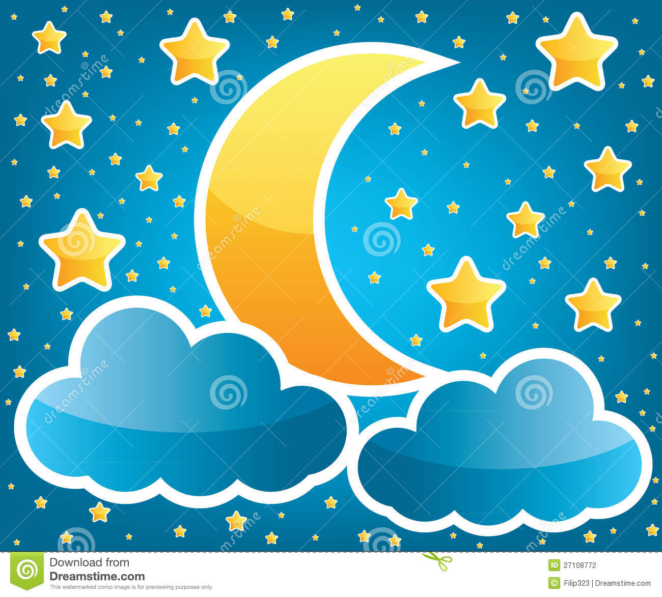 Moon And Stars Illustration Stock Photography - Image ...