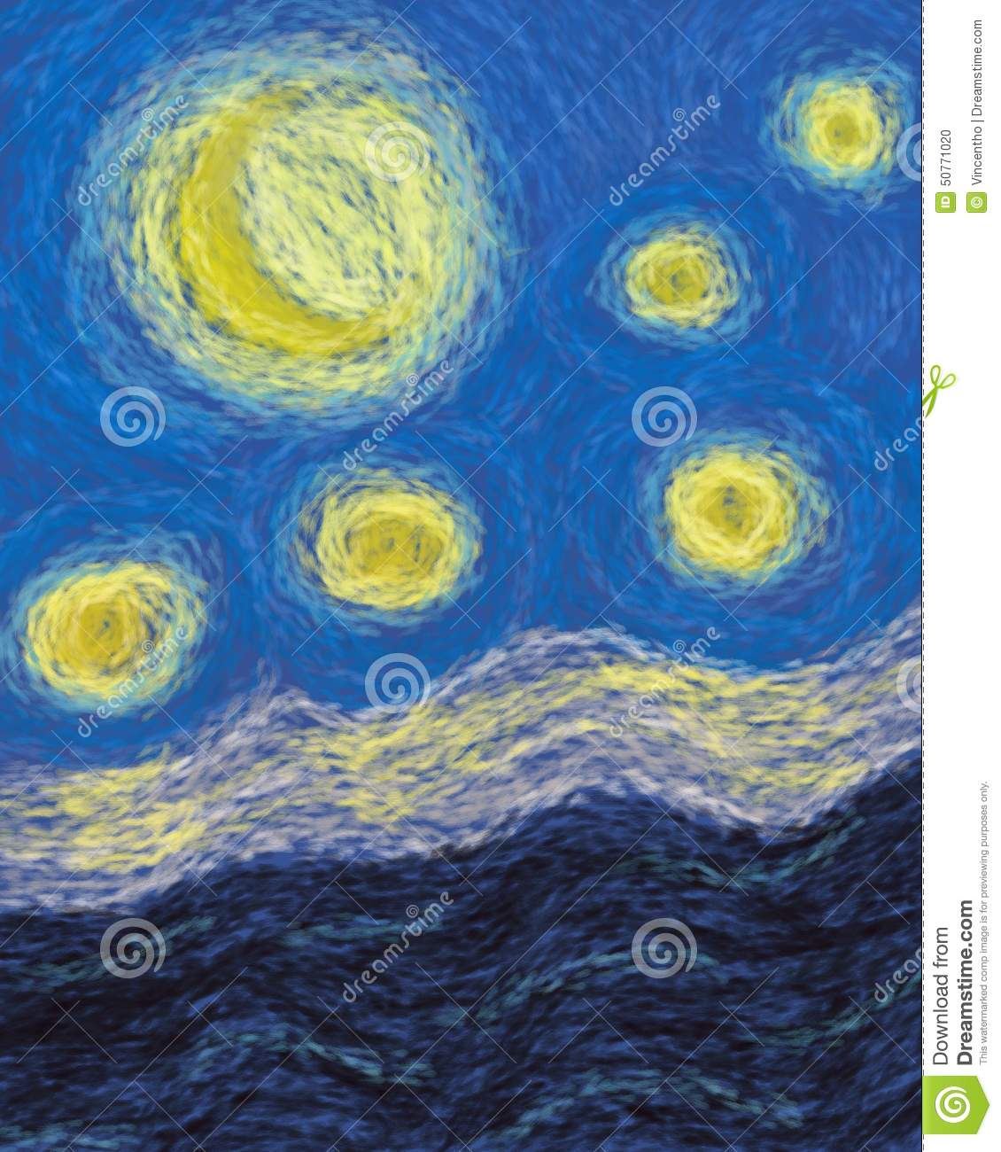 Moon And Stars Impressionism Painting Abstract Stock