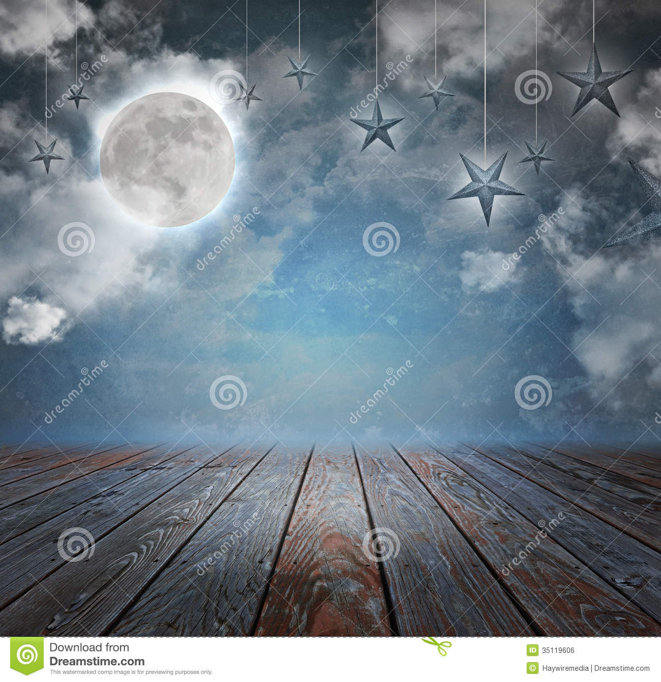 Moon And Stars Night Background Backdrop Stock Photo
