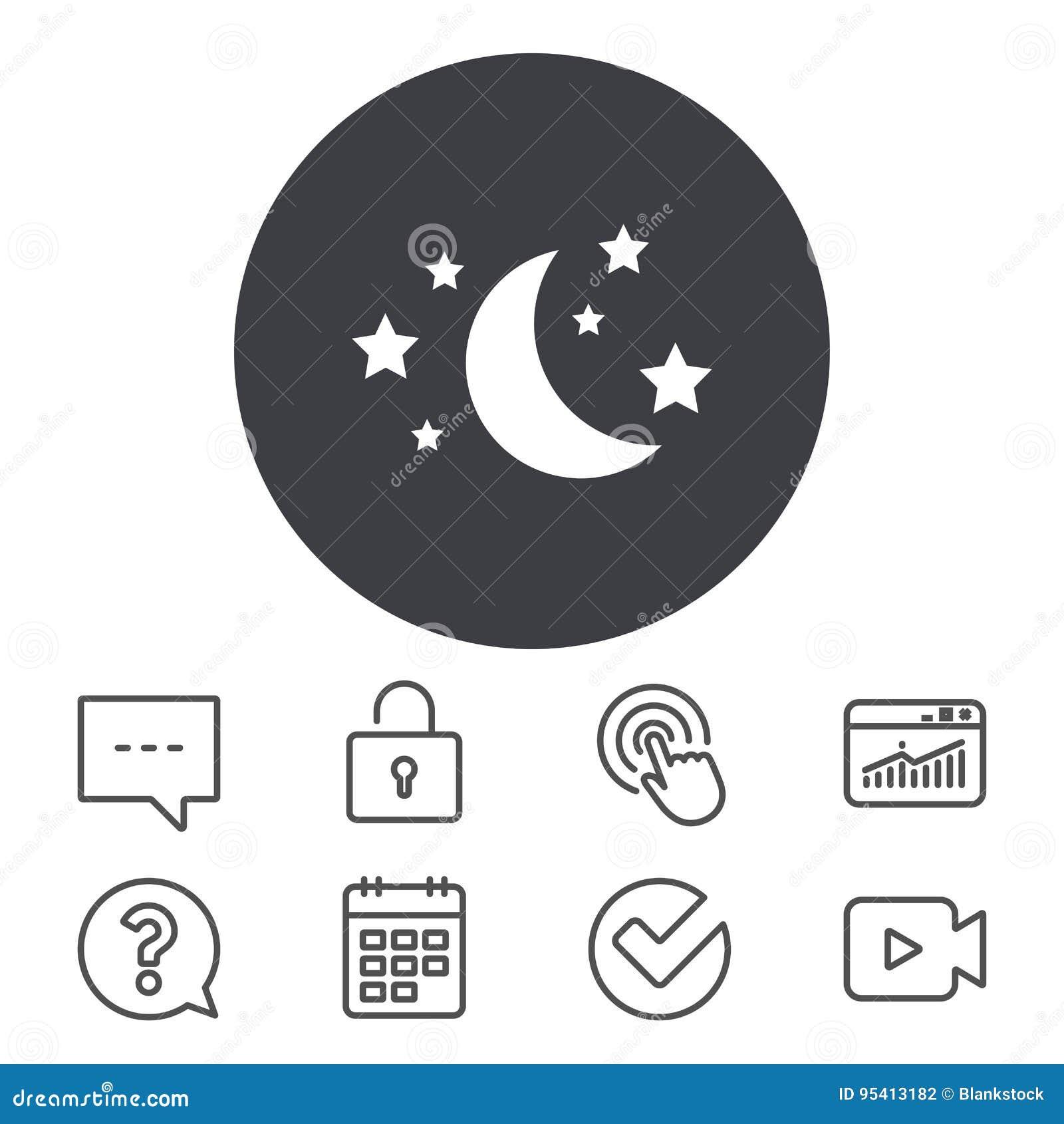 Moon And Stars Sign Icon Sleep Dreams Symbol Stock Vector