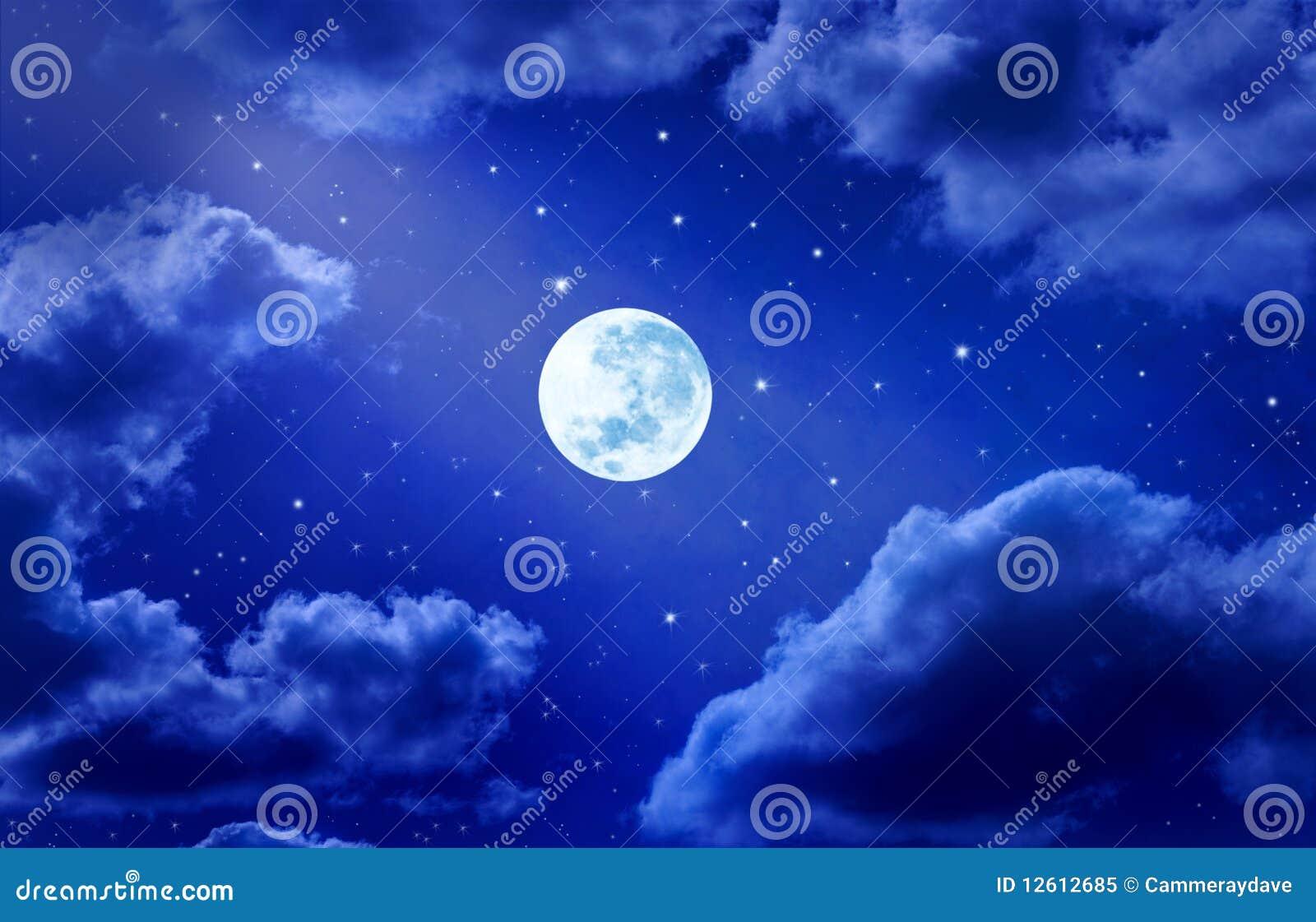 moon stars sky clouds night stock illustration illustration of