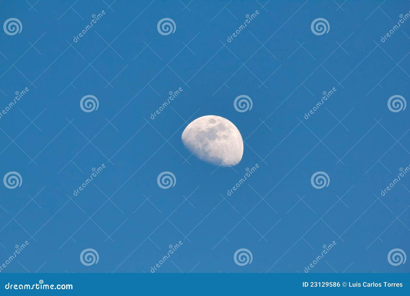 Moon still in the clear sky