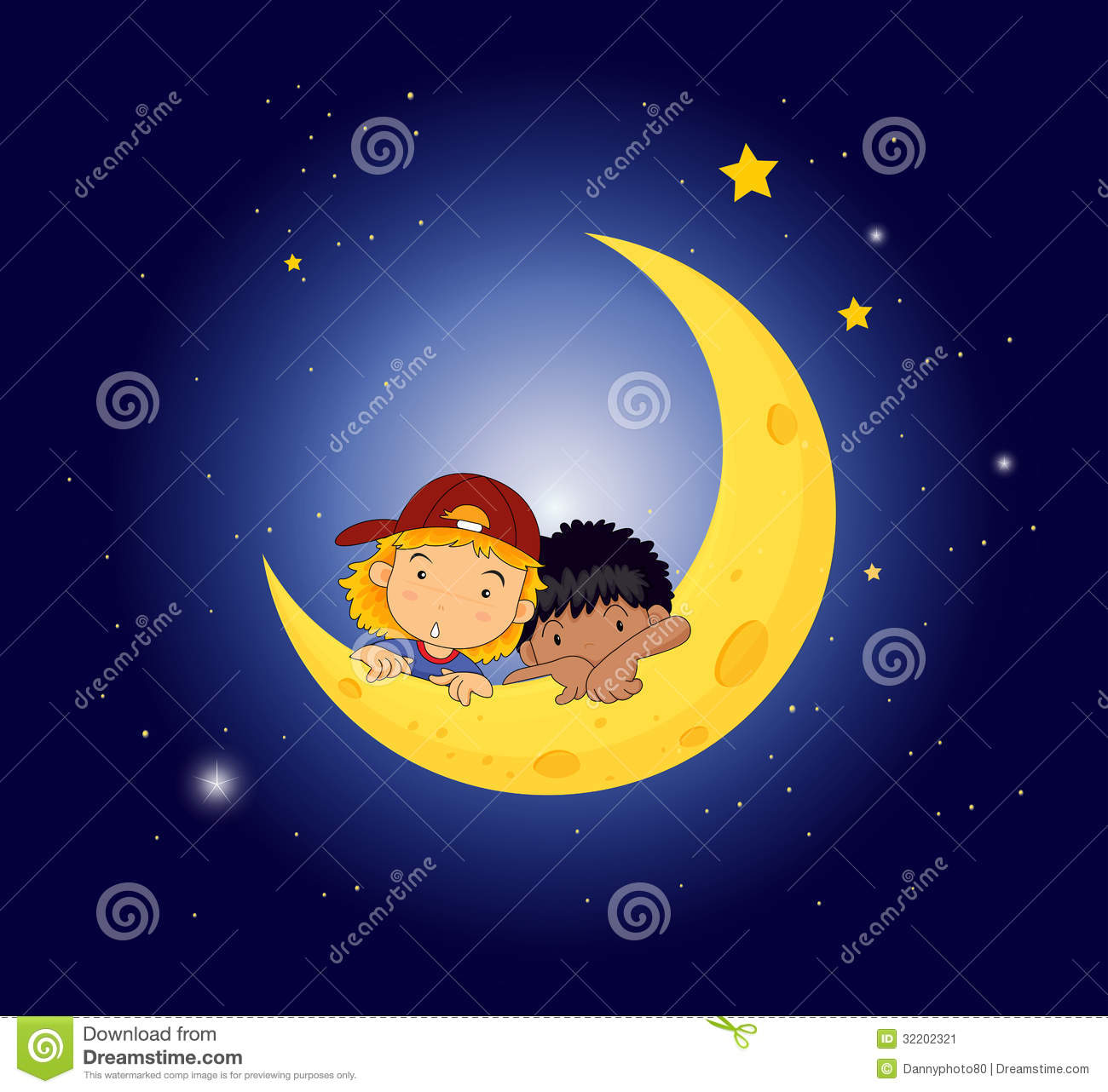 Kids at night with moon royalty free stock photography image - A Moon With Two Kids Stock Image