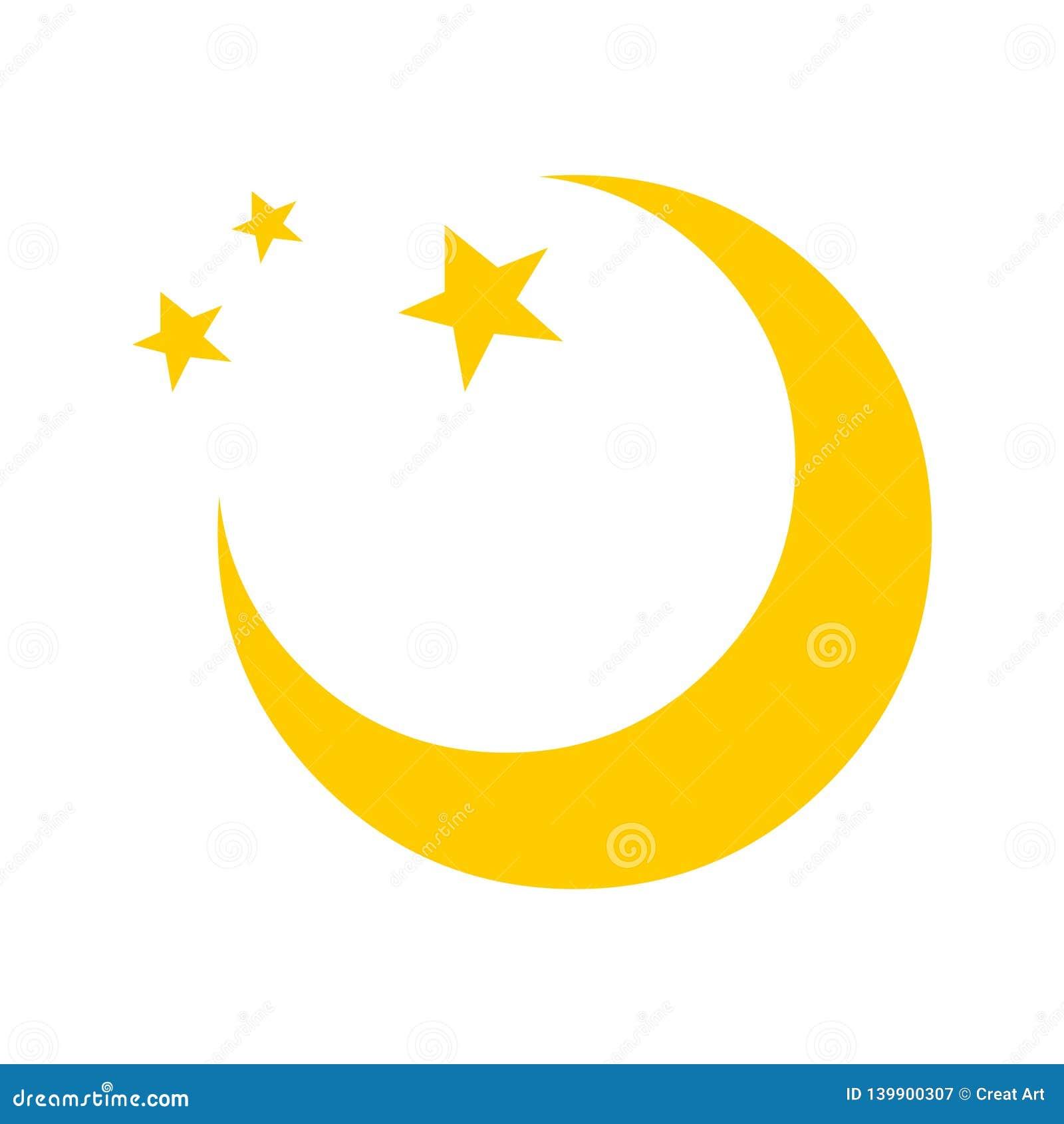 Moon vector icon logo.Moon and stars illustration